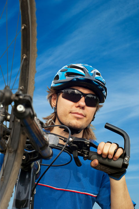 a bicycle helmet on a cyclist